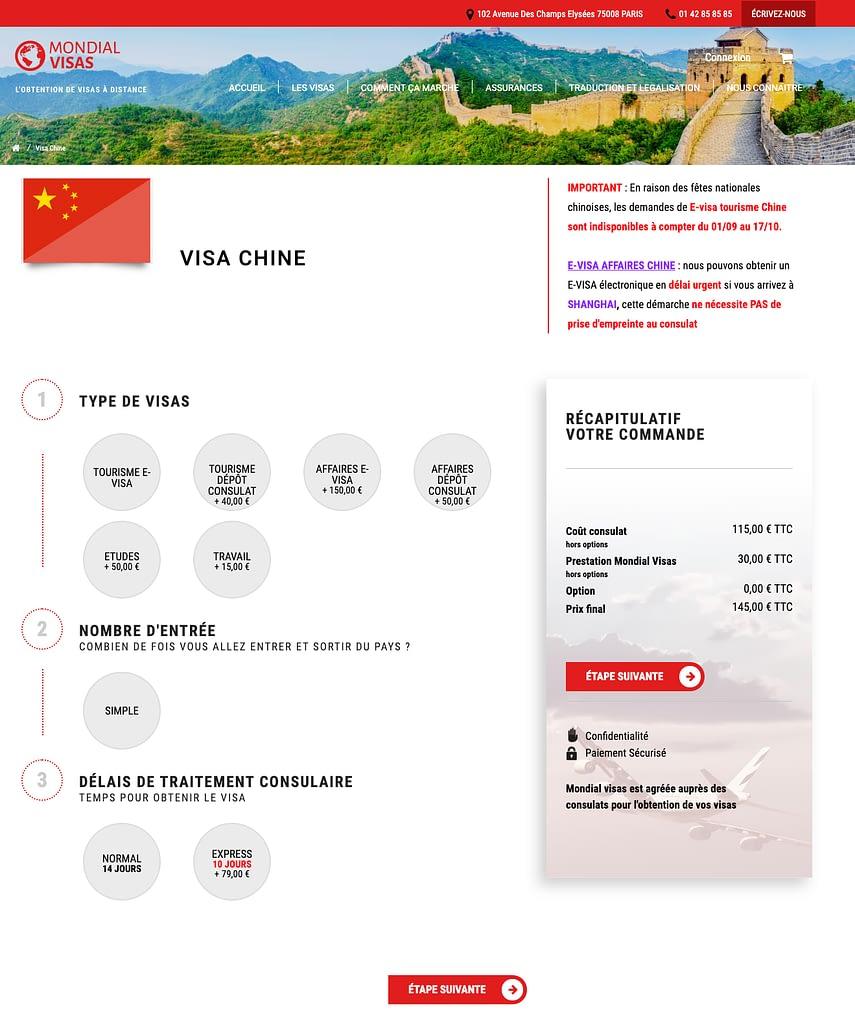 page de commande mondial visas