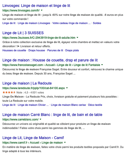 résultats google exemple
