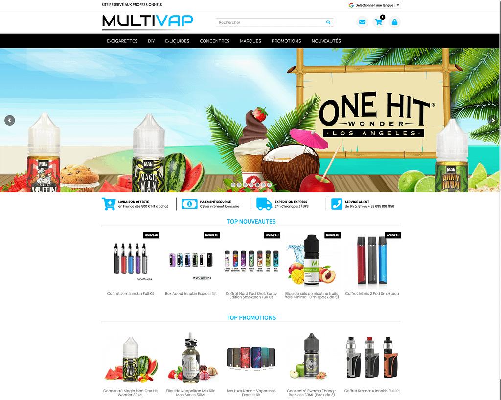 Page d'accueil de MultiVap