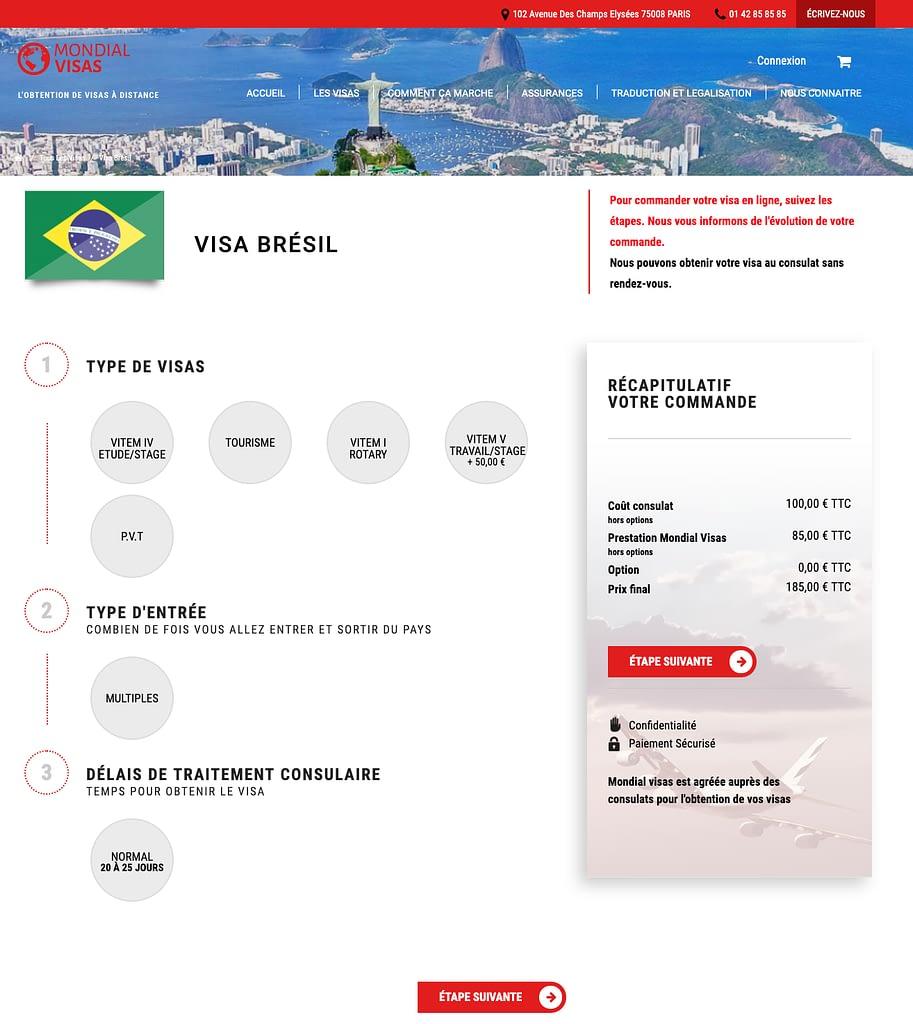 fiche produit mondial visa