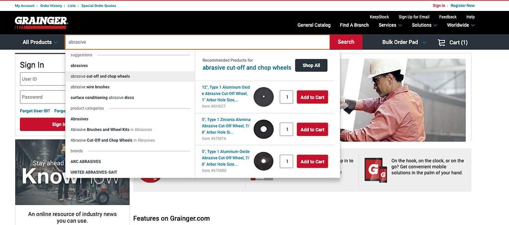 Système de recherche produit e-commerce utilisé par grainger