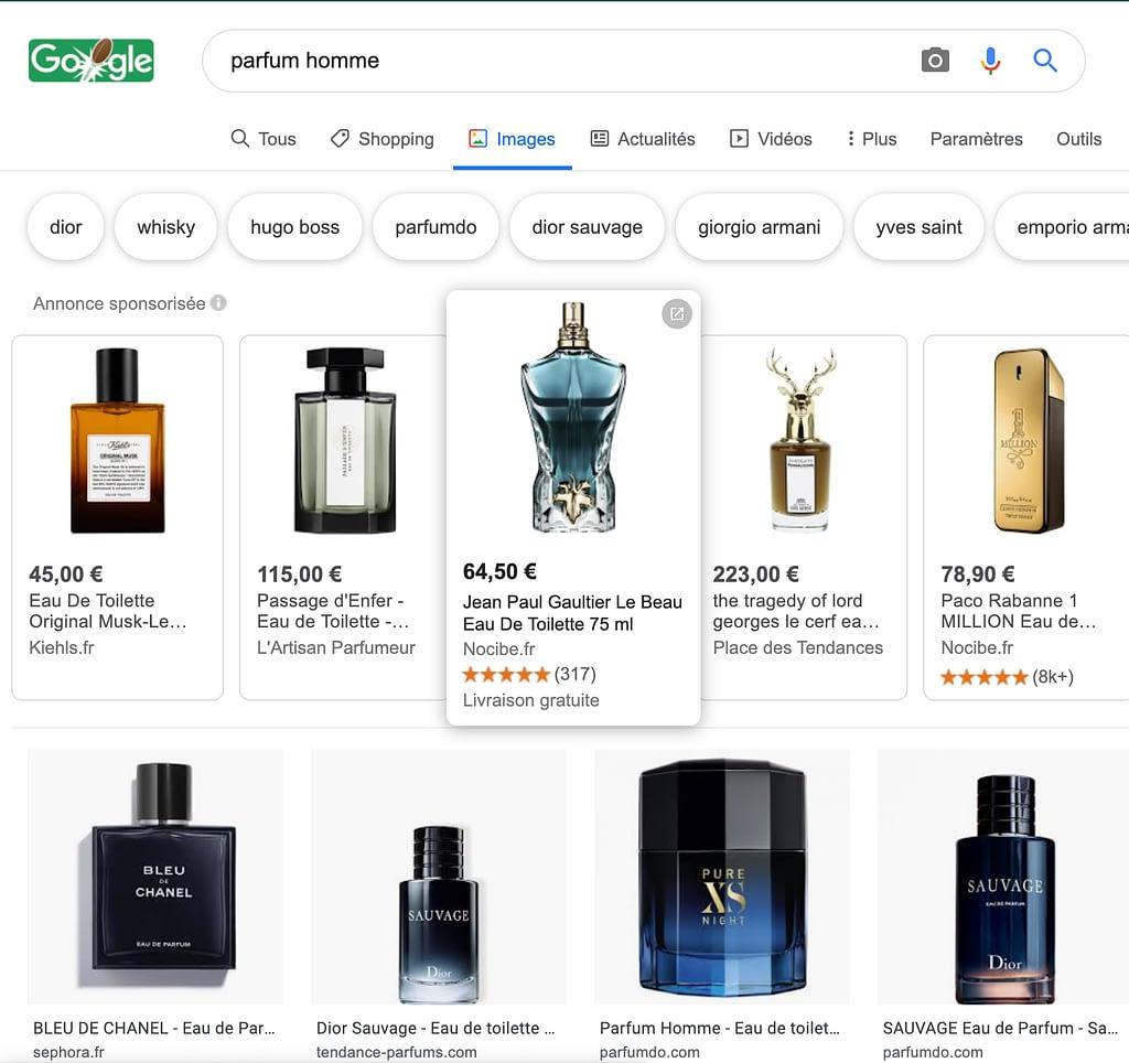 Résultats de recherche google images