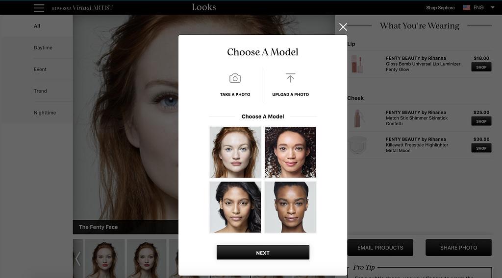 sephora virtual artist expérience e-commerce