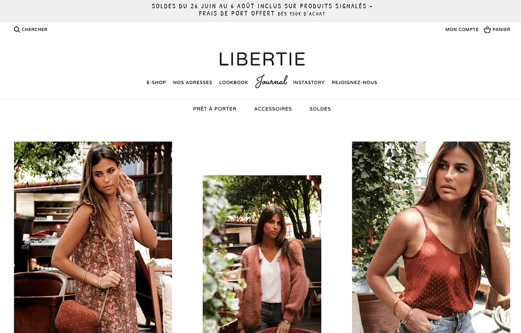 Boutique Libertie exemple site prestashop