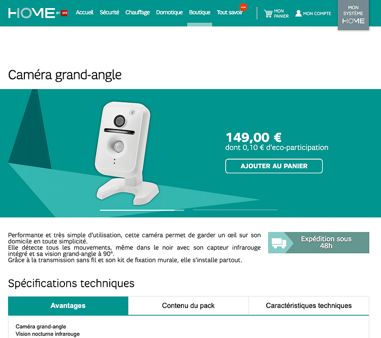 Page produit home by sfr